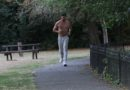 Shirtless rocker Paul Pedana shows off his athletic body as he goes jogging in Walpole Park